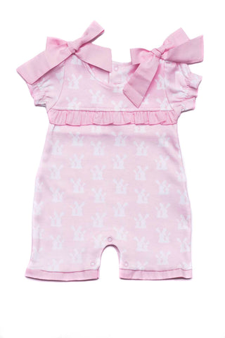 Cotton Pink Rompers with little white bunnies Pima Cotton