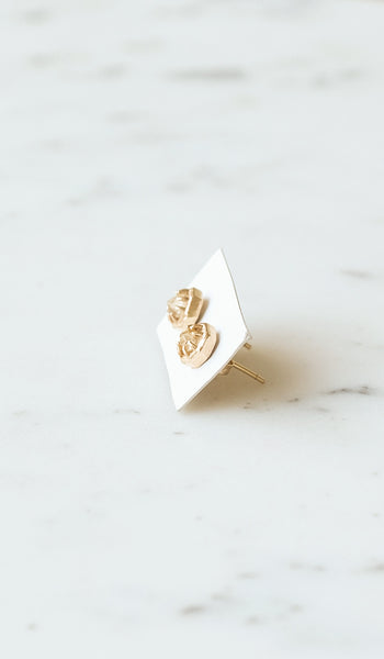 Lauren Wolf Small Gold and Quartz Octagon Studs