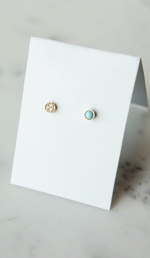 Mociun Round Studs: Turquoise and Diamond, Jewelry, Mociun, SPARTAN SHOP