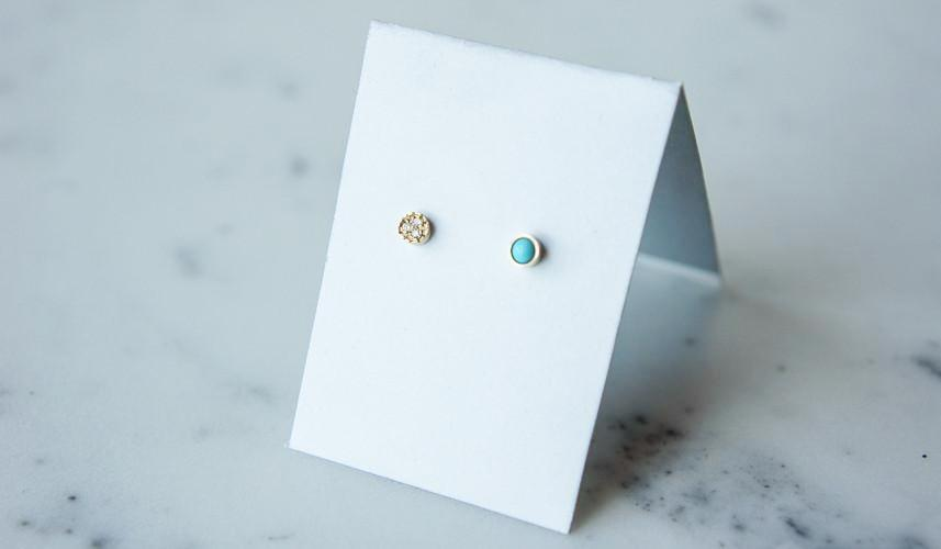 Mociun Round Studs: Turquoise and Diamond