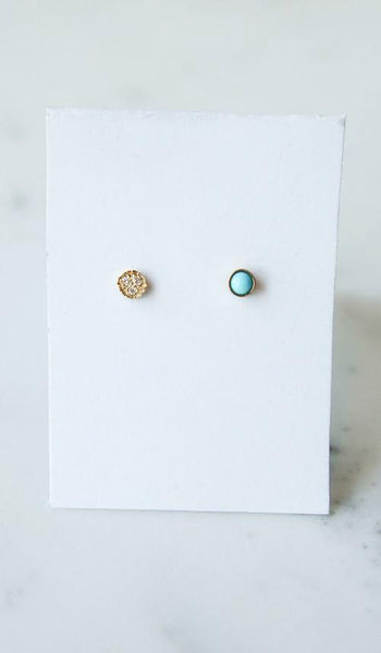 Mociun Circle Stud Earrings: Turquoise and Diamond, Jewelry, Mociun, SPARTAN SHOP
