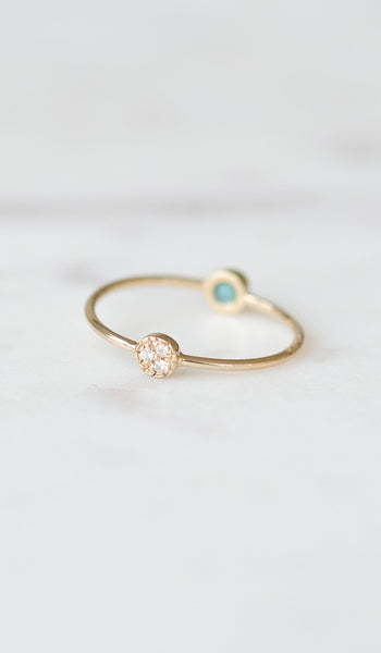 Mociun Diamond and Turquoise Double Circle Ring, Jewelry, Mociun, SPARTAN SHOP