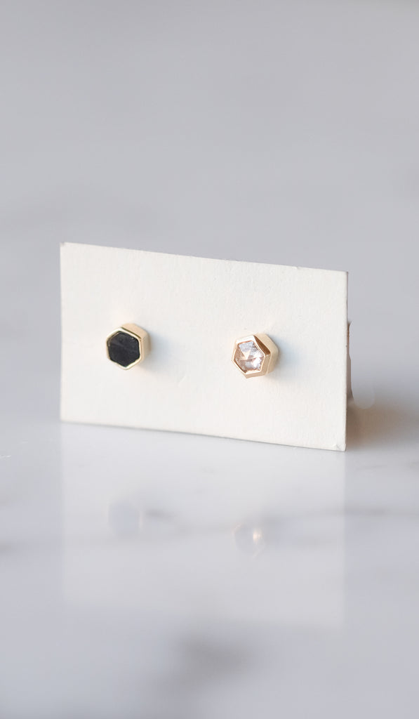 Mociun Hexagon Stud Earrings: Black Spinel and Diamond, Jewelry, Mociun, SPARTAN SHOP