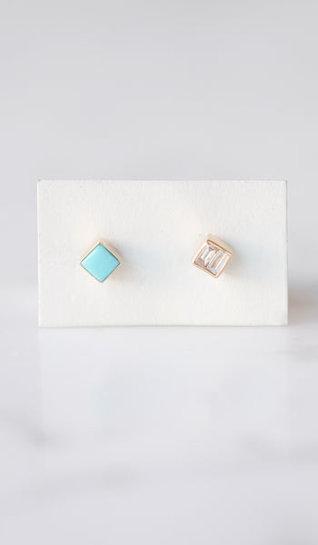 Mociun Square Stud Earrings: Turquoise And Diamond, Jewelry, Mociun, SPARTAN SHOP