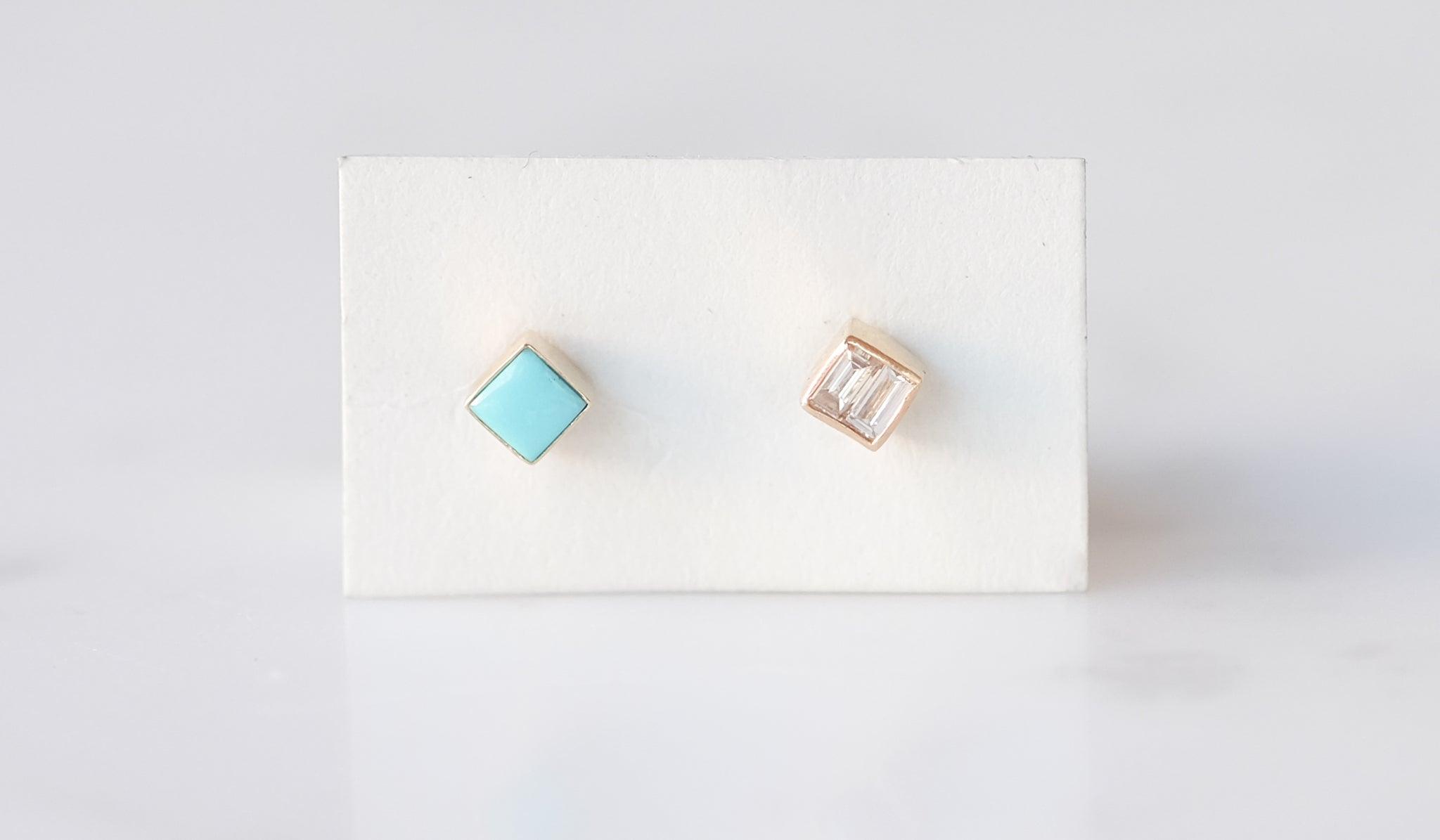 Mociun Square Studs: Turquoise And Diamond, Jewelry, Mociun, SPARTAN SHOP