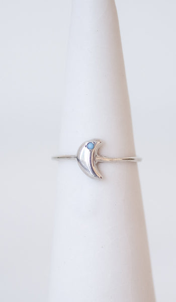Scosha Silver and Turquoise Moon Ring - Spartan Shop