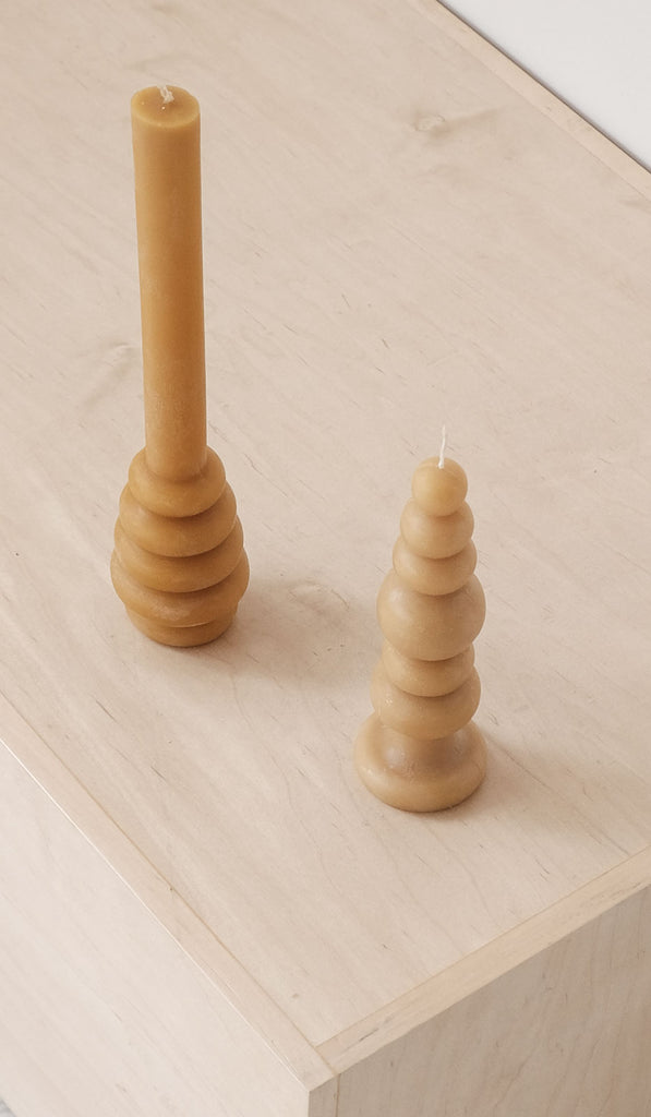 Set of 2 Carl Durkow Beeswax Candles: Stacked