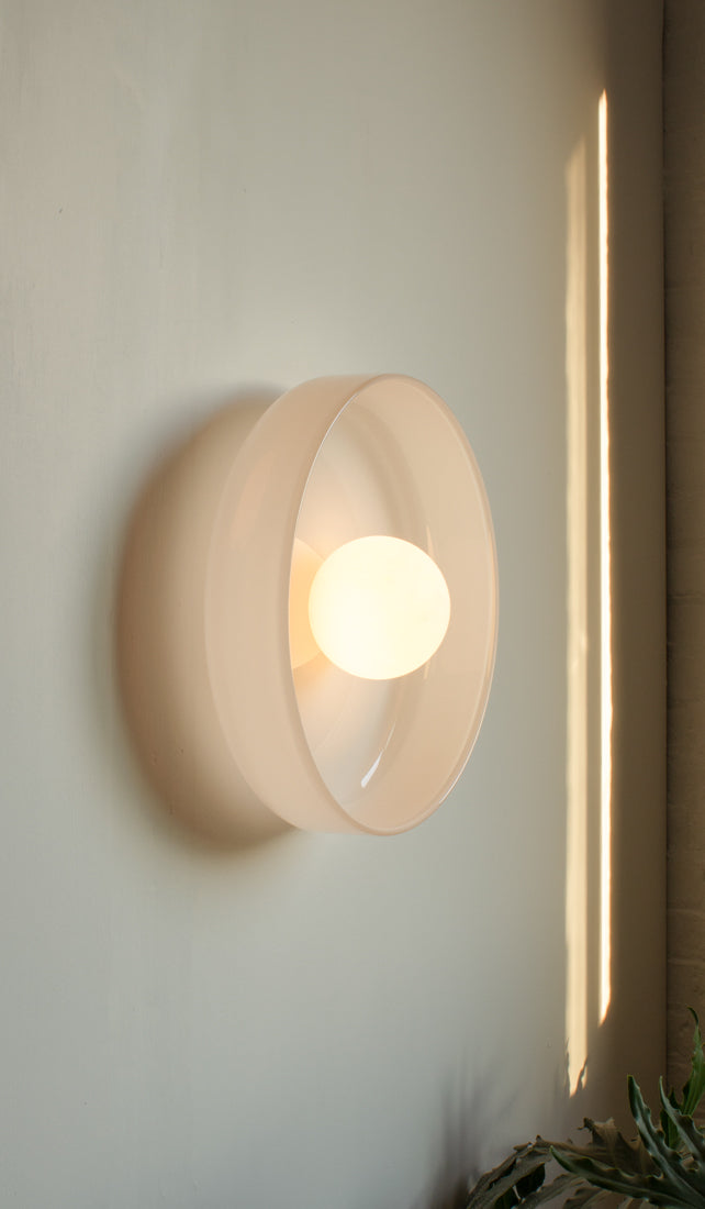 In Common With Hand Blown Glass Disc Orb Sconce: Opaline, , In Common With, SPARTAN SHOP