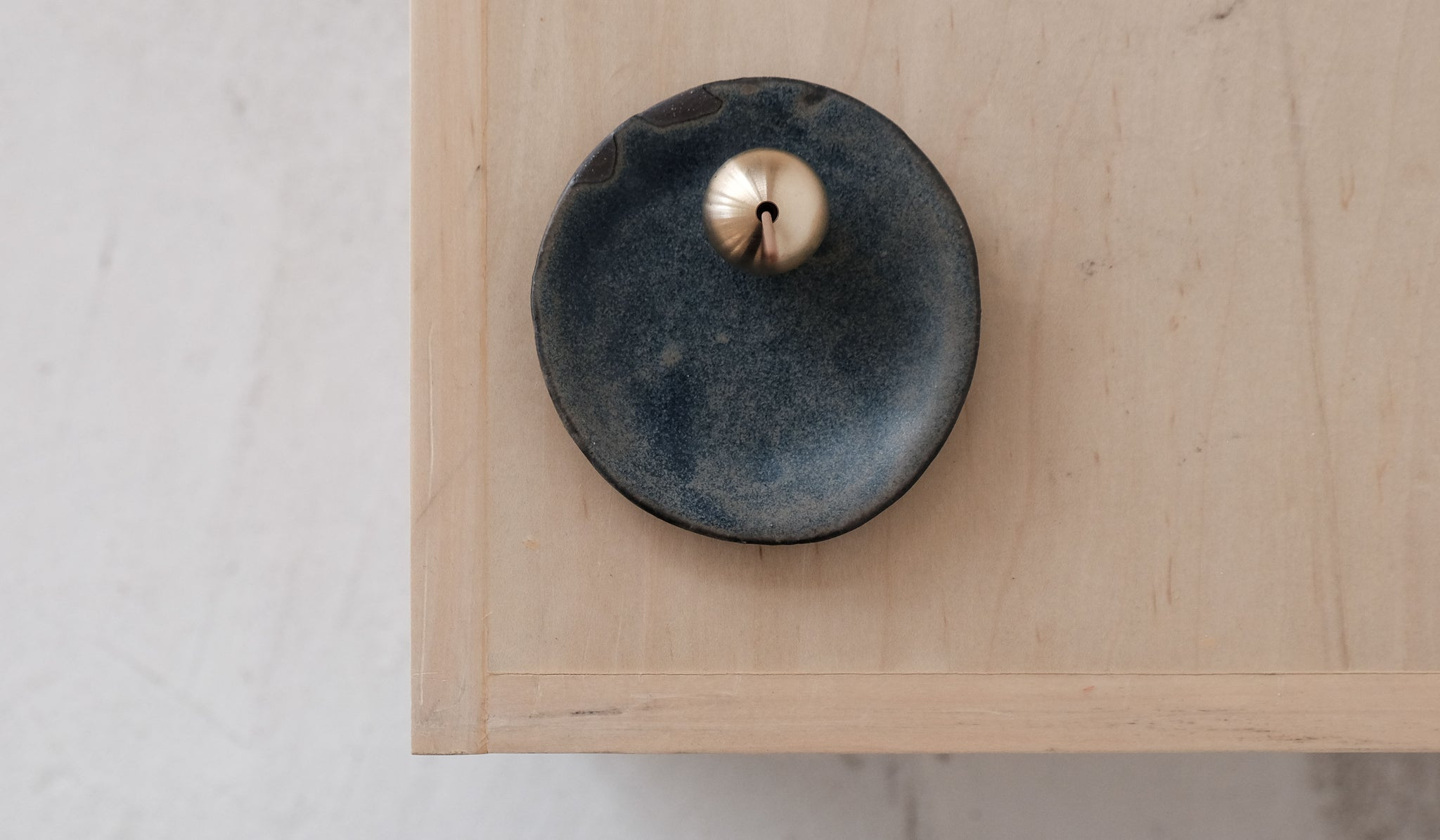 Mondays Projects Blue Ceramic Dish & Brass Ball Incense Holder Set