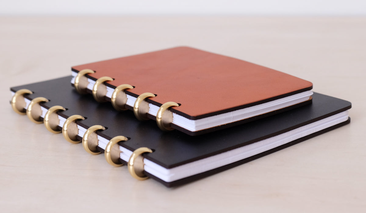 Leather & Brass Bound Spiral Notebook, Paper/Office, Pacific & West*, SPARTAN SHOP