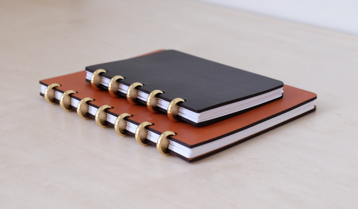 Leather & Brass Disc Bound Notebook, Paper/Office, Pacific & West*, SPARTAN SHOP