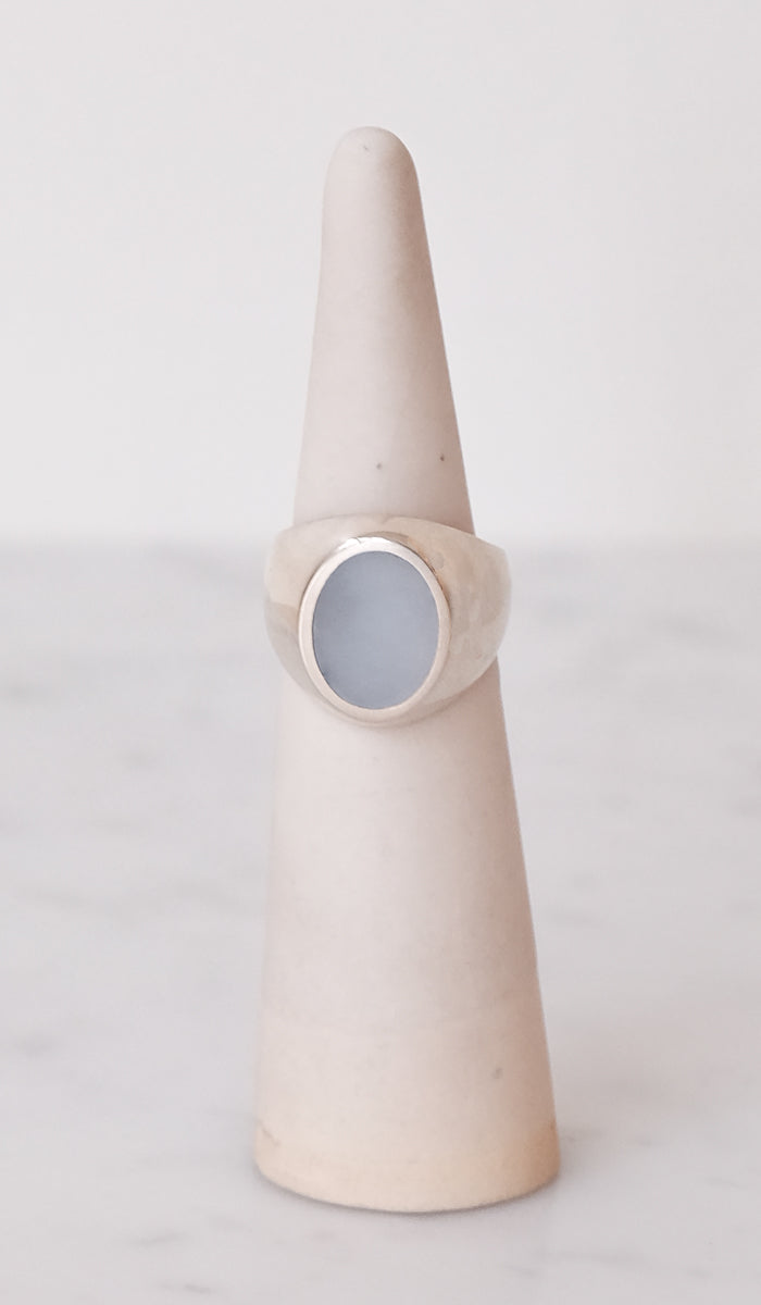 Legier Blue Chalcedony Oval Signet Ring, Jewelry, Legier, SPARTAN SHOP