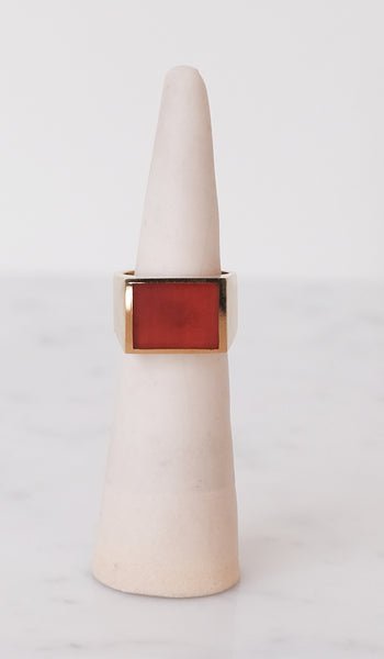 Legier Brass and Carnelian Signet Ring, Jewelry, Legier, SPARTAN SHOP