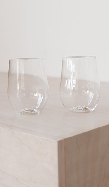 Organic Shaped Red Wine Glass / Set of 2, Tabletop, Malfatti Glass, SPARTAN SHOP