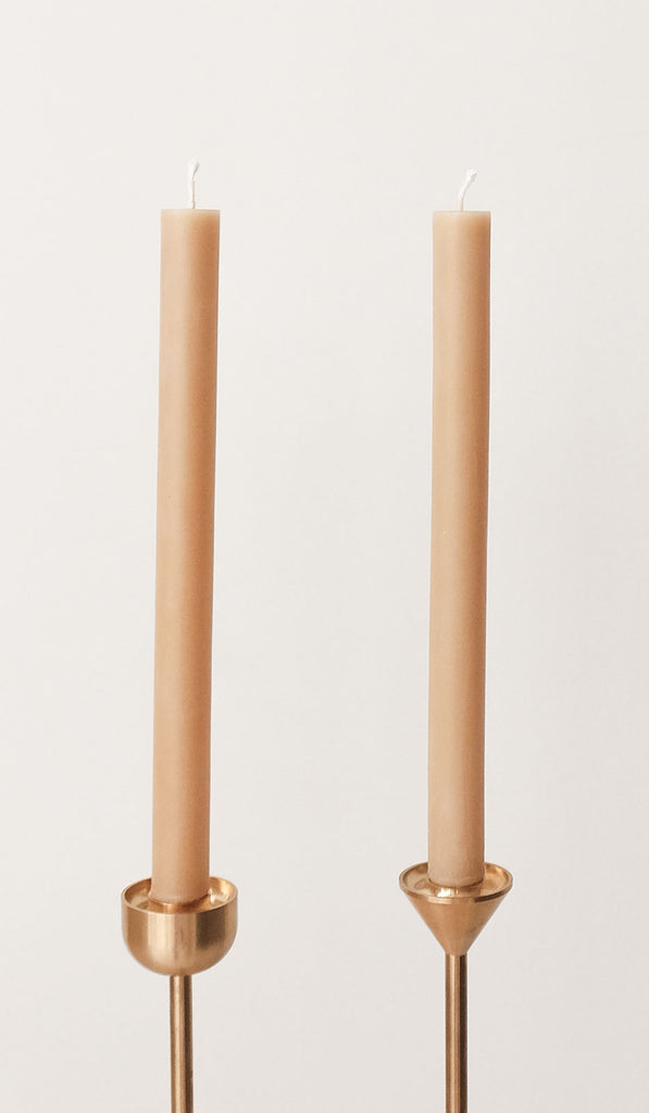 Pair of 2 Cylinder Beeswax Candles: Natural