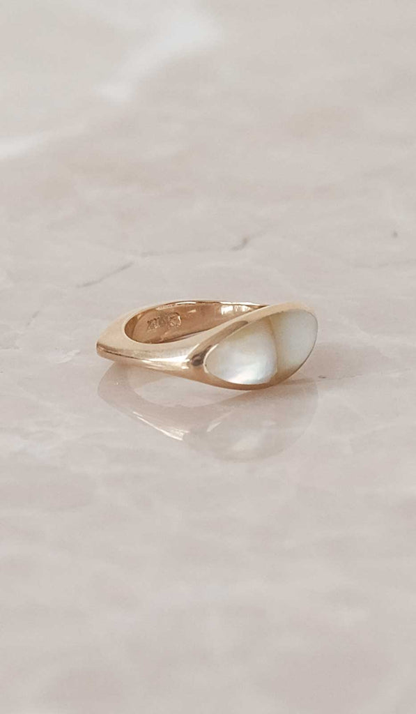 Ursa Major Pilar Ring: 10K Gold with Mother of Pearl, Jewelry, Ursa Major, SPARTAN SHOP