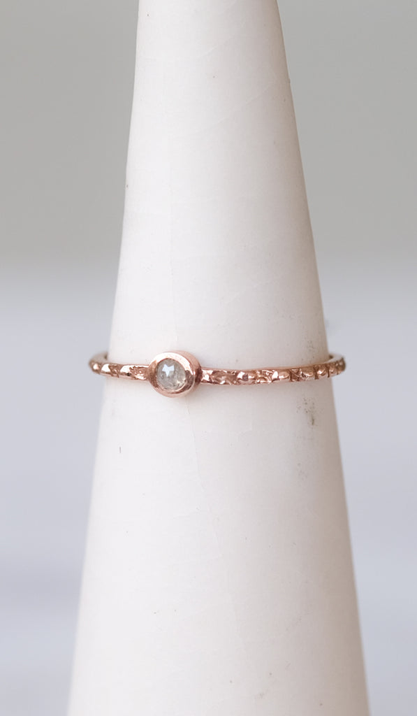 T.Kahres Rough Cut Diamond and Rose Gold Ring, Jewelry, T.Kahres, SPARTAN SHOP