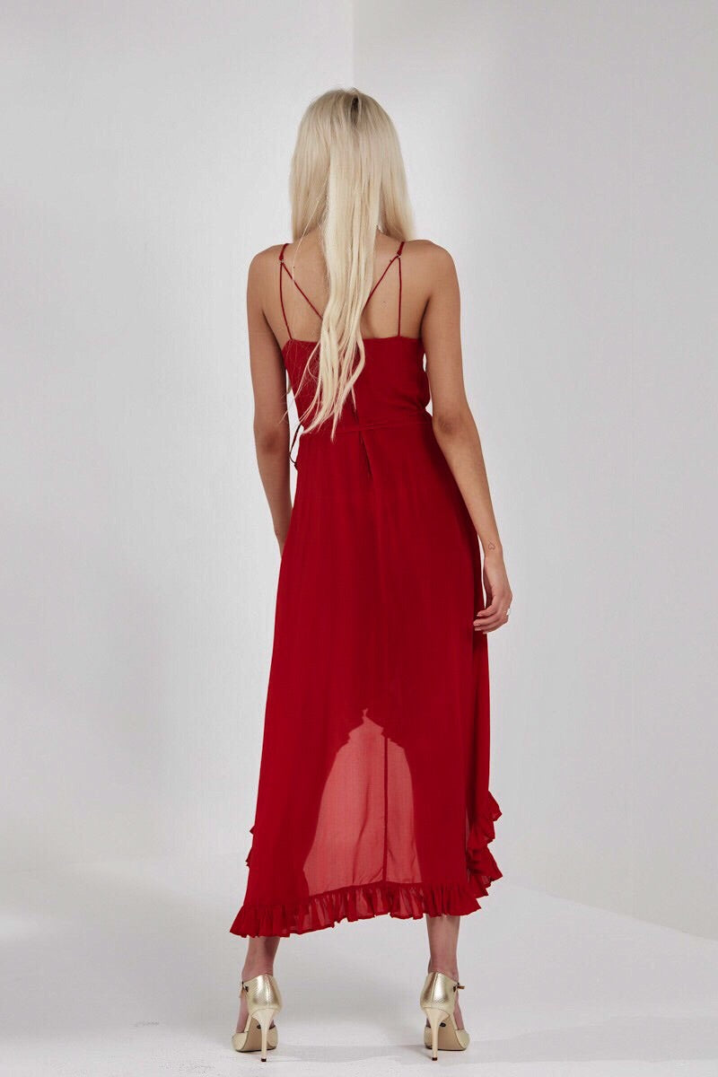 Christiana long wrap dress by Yvonne Bennetti in cherry red pure silk with v neckline shoestring straps ruffle hem and cross-over back front view