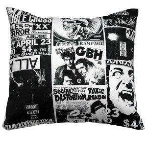 Punk Flyer Collage Decorative Pillow