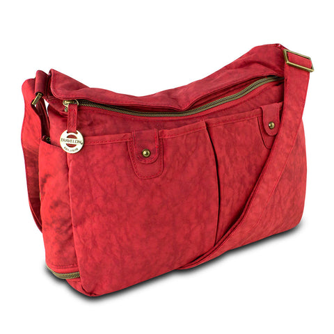Travelon East/West Shoulder Bag w/ RFID Protection, Cayenne - cheapbuynsave.com