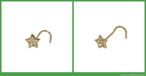 14k Solid Yellow Gold Star Nose Screw with Cz Jewel 18 Gauge