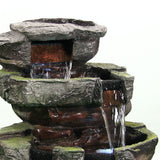 "24"" Tiered Stone Waterfall Fountain w/ LED Lights by Sunnydaze Decor - cheapbuynsave.com - 3"