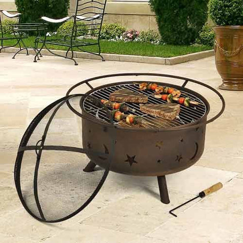 Sunnydaze Cosmic Fire Pit with Cooking Grill - cheapbuynsave.com - 1