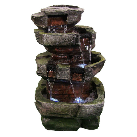 "24"" Tiered Stone Waterfall Fountain w/ LED Lights by Sunnydaze Decor - cheapbuynsave.com - 1"