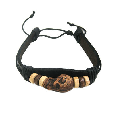 Leather Bracelet with Brown Skull and Black Rope - cheapbuynsave.com - 1