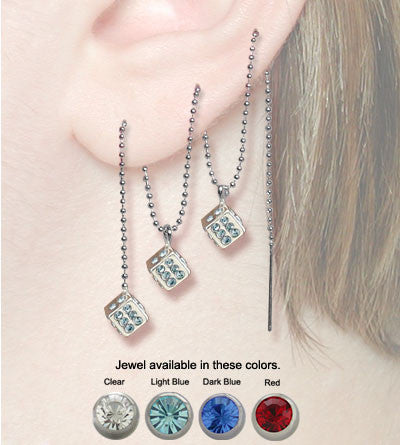 Ear Lace with Silver Chain and Dice with Jewel - cheapbuynsave.com