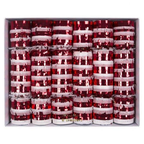 Candy Cane Fringe Crackers Pack of 6