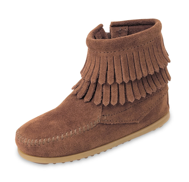 Minnetonka Double Fringe Side Zip Taupe