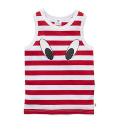 Hootkid Tank Look Here Red - LAST ONE SIZE 2