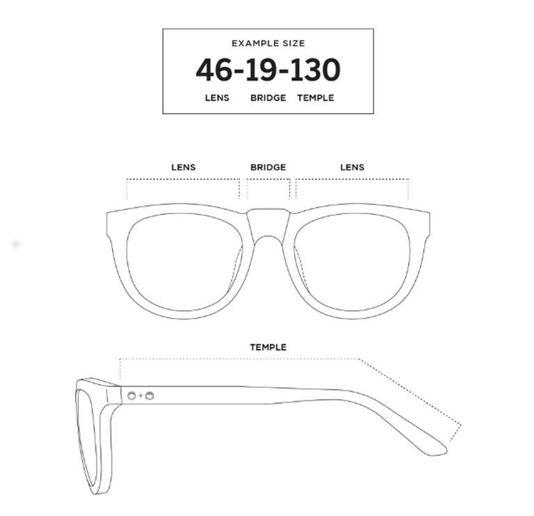 Sons + Daughters Eyewear Size Chart