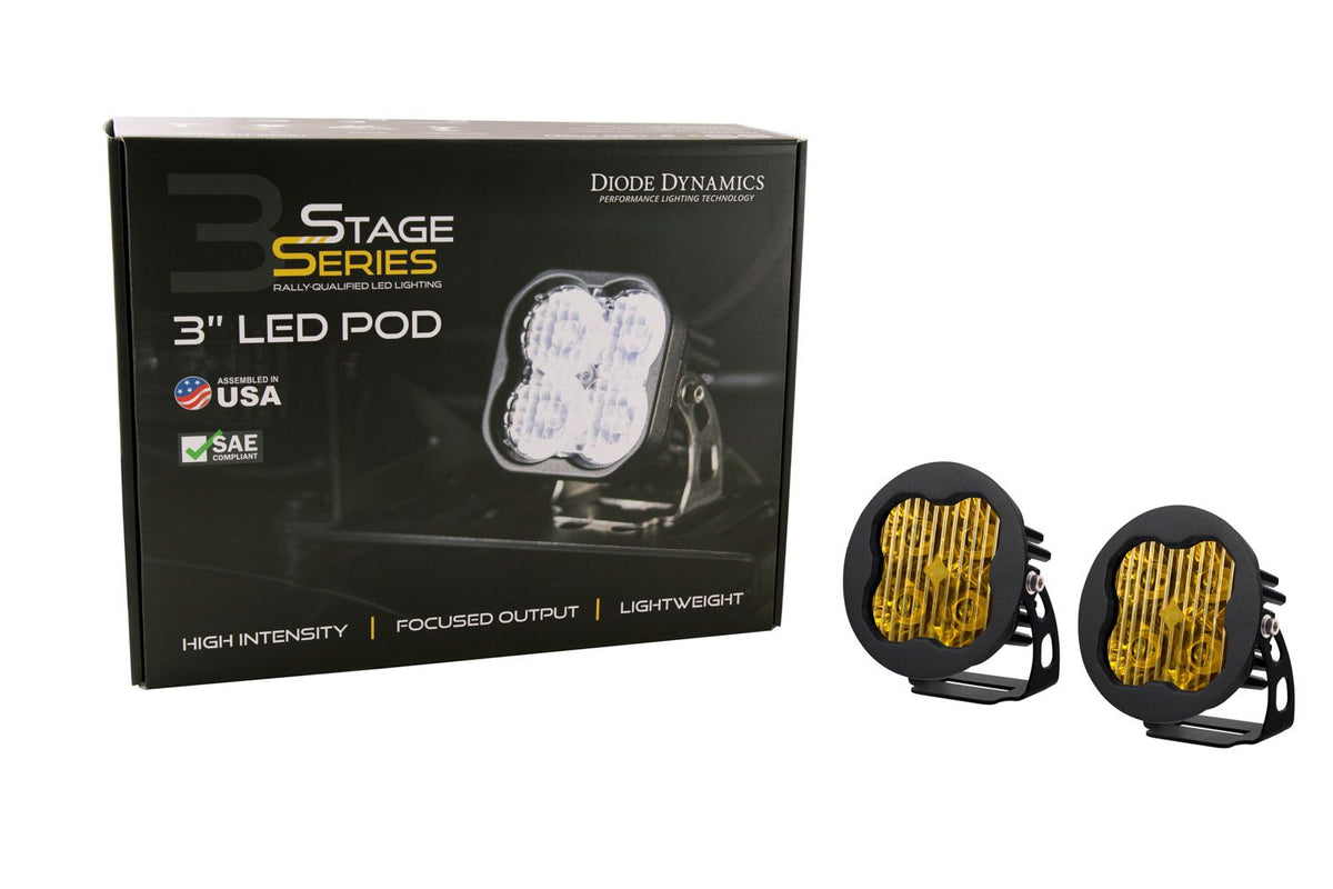 "Stage Series 3"" SS3 Yellow LED Pod Round (Pair)"