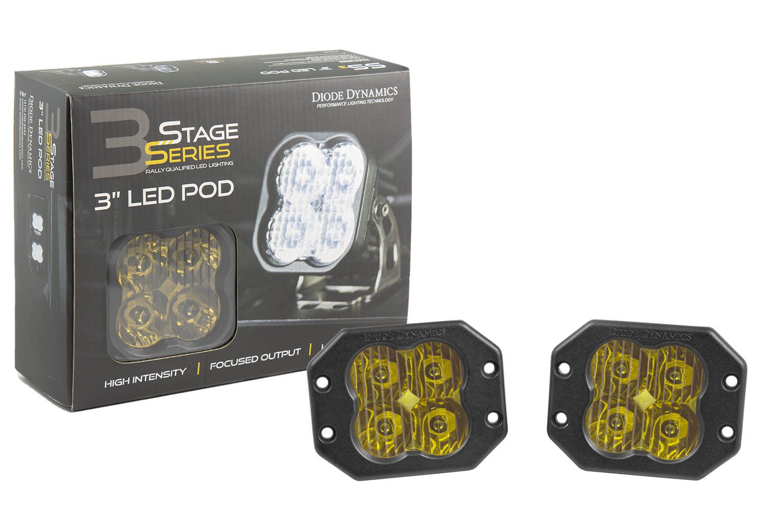 "Stage Series 3"" SS3 Yellow LED Pod Flush Mount (Pair)"