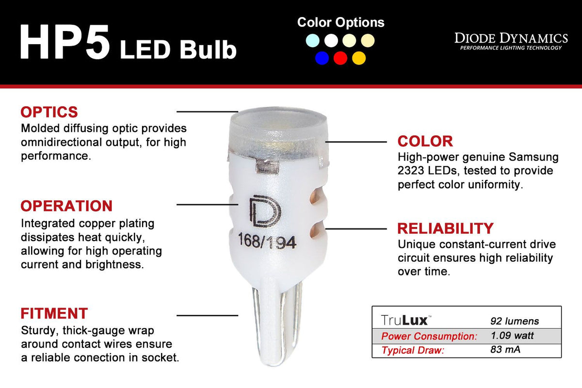 194 HP5 LED Bulbs (Pair)
