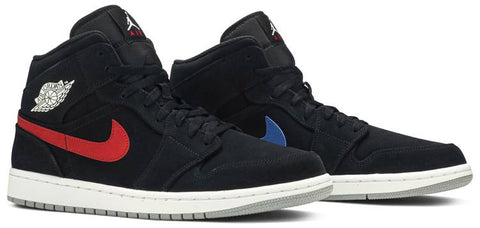 Air Jordan 1 Mid Multi-Color Swoosh Black