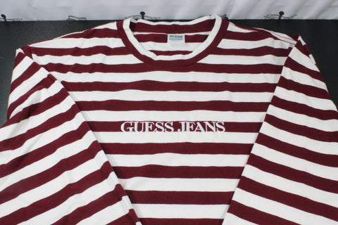 Guess Maroon Stripes Long Sleeve Shirt