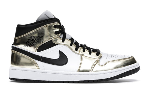 Air Jordan 1 Mid Metallic Gold Black White