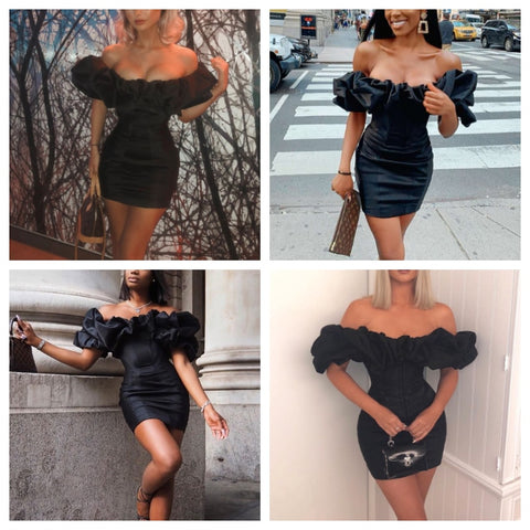 Elegant Ruffle off shoulder club sexy dress women bodycon black autumn dress Elegant short mini   fiesta