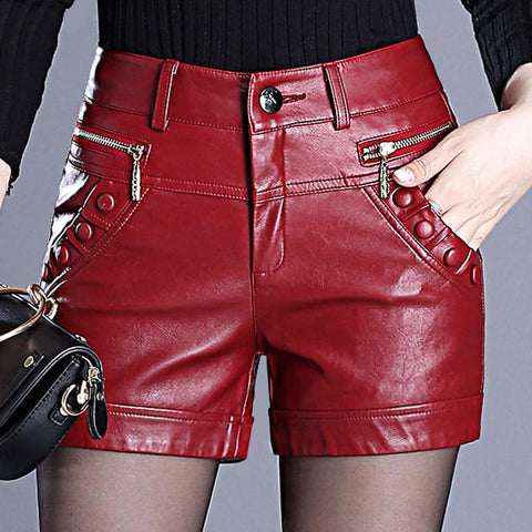 Plus Size 6XL Leather Shorts Women Autumn Winter PU Leather Sexy Shorts Straight Slim High Waist Short Femme Women Shorts C5663