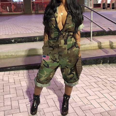 Women Short Sleeves Camouflage Print leopard Flag Casual Mid Short Camouflage Jumpsuits Size Plus Fashion 2019 New Spring