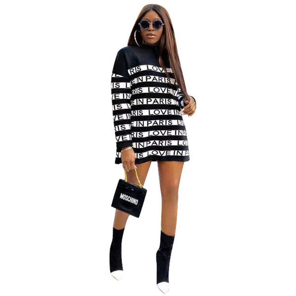 Letter Printed Paris Plus Size Dress Women's Fashion Long Sleeve Loose Short Dress Causal Turtleneck  T Shirt Dress