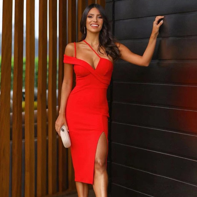 Luxury Red One Shoulder Bandage Dress Women Sexy Sleeveless Spaghetti Strap Club Celebrity Runway Party Dress Vestidos