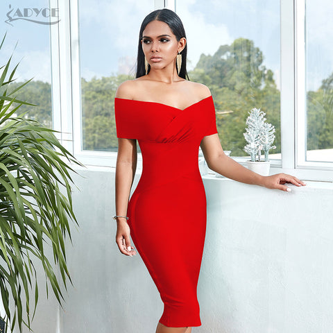 MB Summer Off Shoulder Bandage Dress Women 2020 Sexy Short Sleeve Midi Bodycon Club Celebrity Runway Party Dress Vestidos
