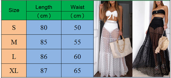 Sexy Skirt High Waist See Though Cover Up Dot Long Skirt Summer Transparent Long Maxi Beach Skirt Swimwear Dress