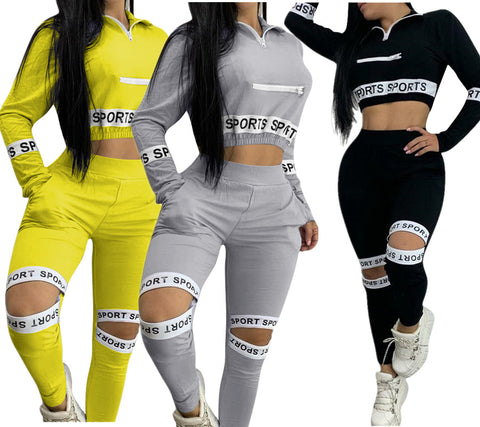 MB Active Wear Sports Letter Cut Out Women's Set Long Sleeve Tops Jogger Pants Suit Tracksuit Two Piece Set Fitness Outfit