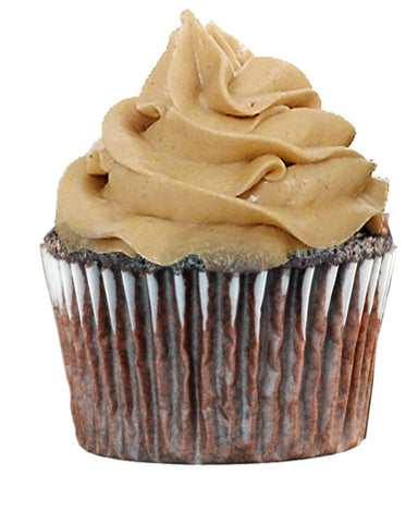 peanut butter frosting on devils food cupcake