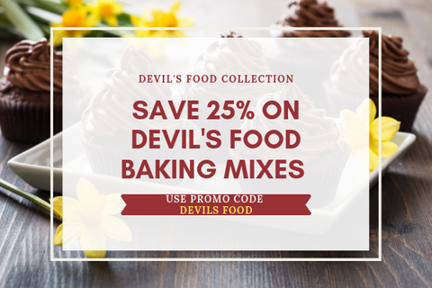 save 25 percent on devils food baking mixes